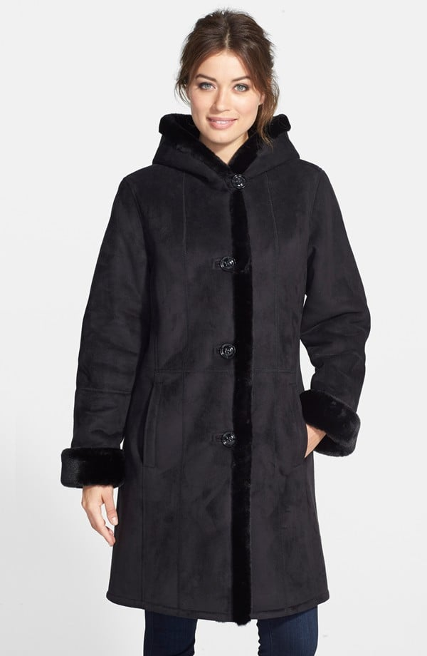 Gallery Hooded Long Faux Shearling Coat