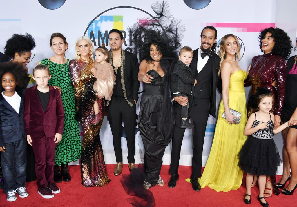 Diana Ross had the support of her loved ones during her momentous night at the American Music Awards in LA on Sunday. The 73-year-old music superstar was beaming as she hit the red carpet in an amazing headpiece with her children and grandchildren; son Ross Naess and his wife Kimberly Ryan; son Evan, his wife Ashlee Simpson, their daughter Jagger, and Ashlee's son Bronx; as well as daughters Chudney, Rhonda, and Black-ish star Tracee Ellis Ross, who is also hosting the show. Diana is being honored with a lifetime achievement award during this year's ceremony, thanks to an incredible career that spans six decades. Diana first attended the American Music Awards in 1974, and has performed and taken home trophies throughout the following years. Most recently, she popped up at the show with Tracee in 2014. Keep reading to see all the sweet photos of Diana and her family at the AMAs.