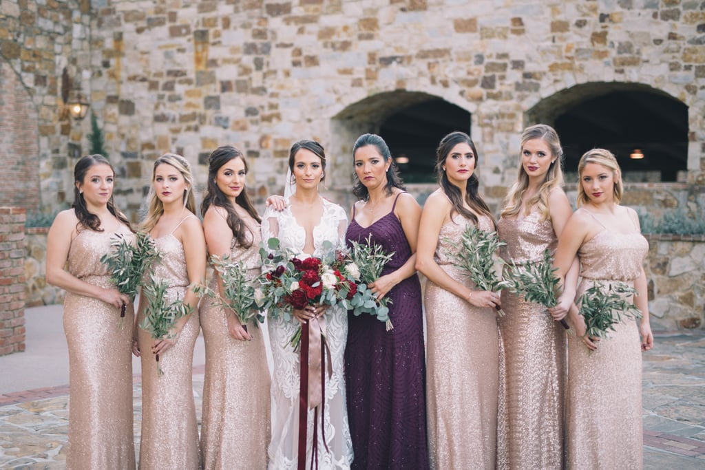 7baf46a1b011 These bridesmaids stood by the bride's side in different blush dresses,  while the maid of