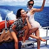 Things got sexy on a boat for Chrissy Teigen and Irina Shayk during a bikini photo shoot. Source: Instagram user chrissyteigen