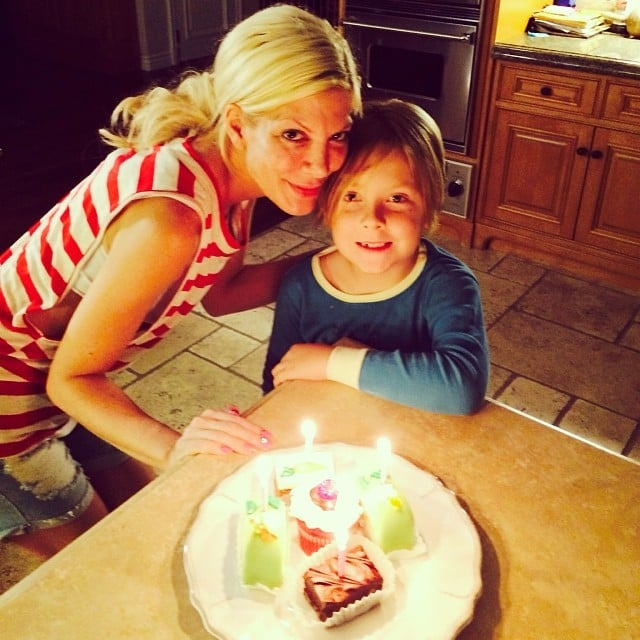 Tori Spelling had an early birthday celebration with her oldest child, Liam. Source: Instagram user torianddean