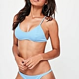 Missguided Blue Neoprene Minimal Strappy Bikini Set