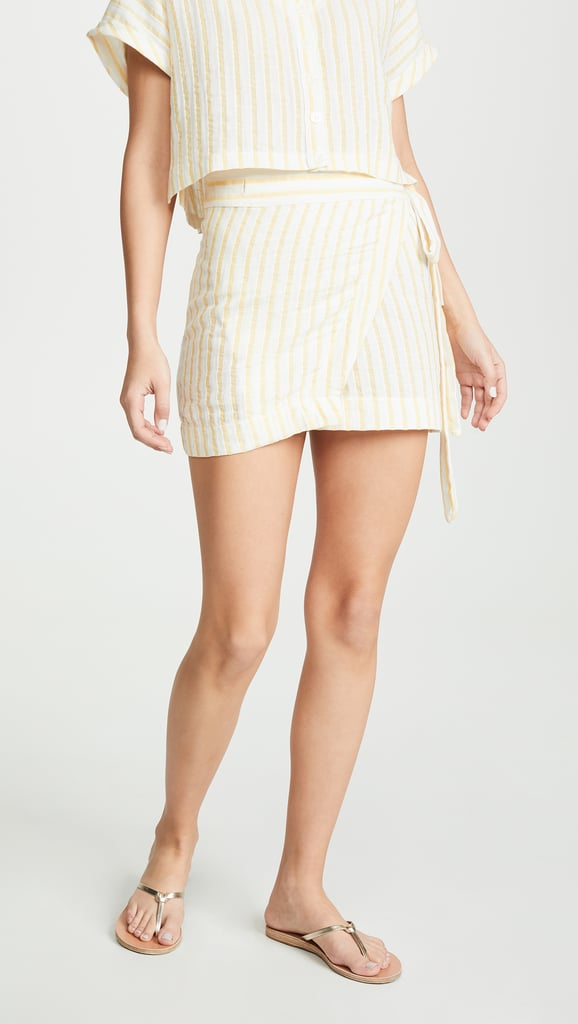 Plush Striped Linen Wrap Skirt