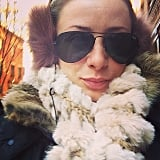 Lo Bosworth bundled up while braving the cold in NYC. Source: Instagram user lobosworth