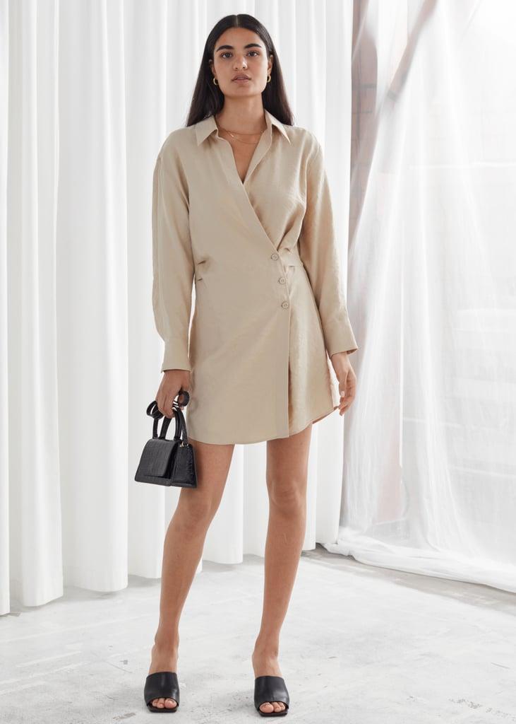 Asymmetric Mini Shirt Dress