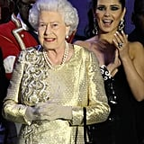 The queen was a vision in gold at the Diamond Jubilee Concert at Buckingham Palace.