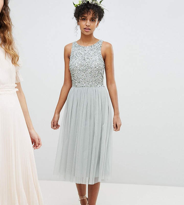bbfc4ed4369800 Maya Sleeveless Sequin Bodice Tulle Detail Midi Bridesmaid Dress With Cutout  Back