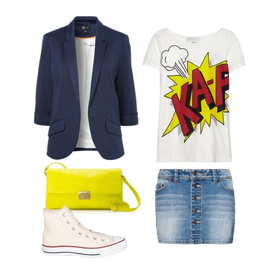 We love the distinct schoolgirl-prep feel thanks to the tailored navy-blue blazer and classic Converse sneakers. Think of this ensemble as the perfect blend of polished meets offbeat — a go-to look for your weekend activities. Get the look:   3.1 Phillip Lim Printed Cotton and Modal-Blend Jersey T-Shirt ($175)  Topshop Ponte Rolled Sleeve Blazer ($70)  Mango Button Denim Skirt ($25)  Converse All-Star Hi-Top Ox ($50)  J.Crew Margate Purse ($120)