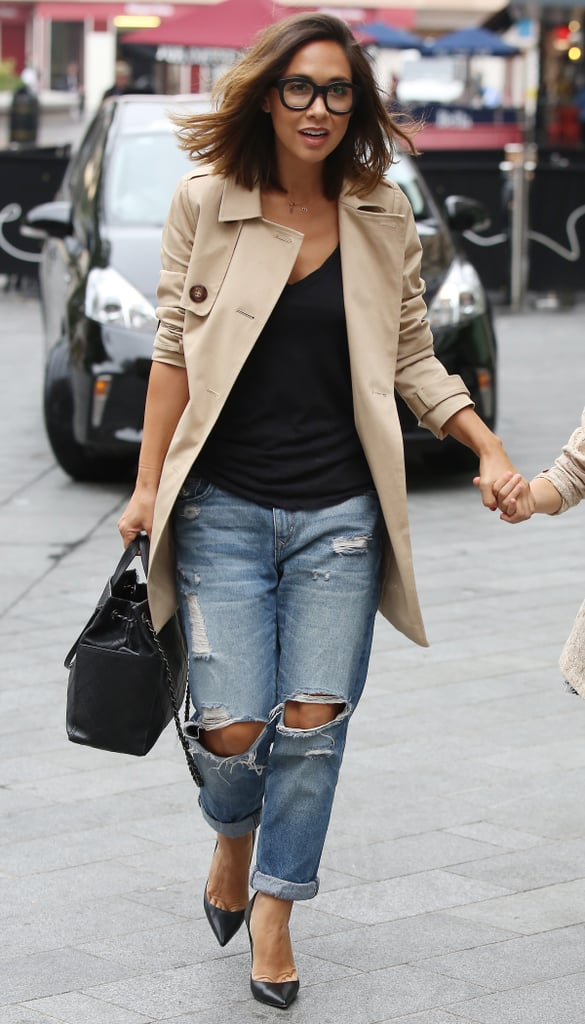 Piecing together a whole host of her Summer favourites, Myleene showed us how to do smart-casual perfectly in her boyfriend jeans, heels, designer bag, and trench coat (£69).