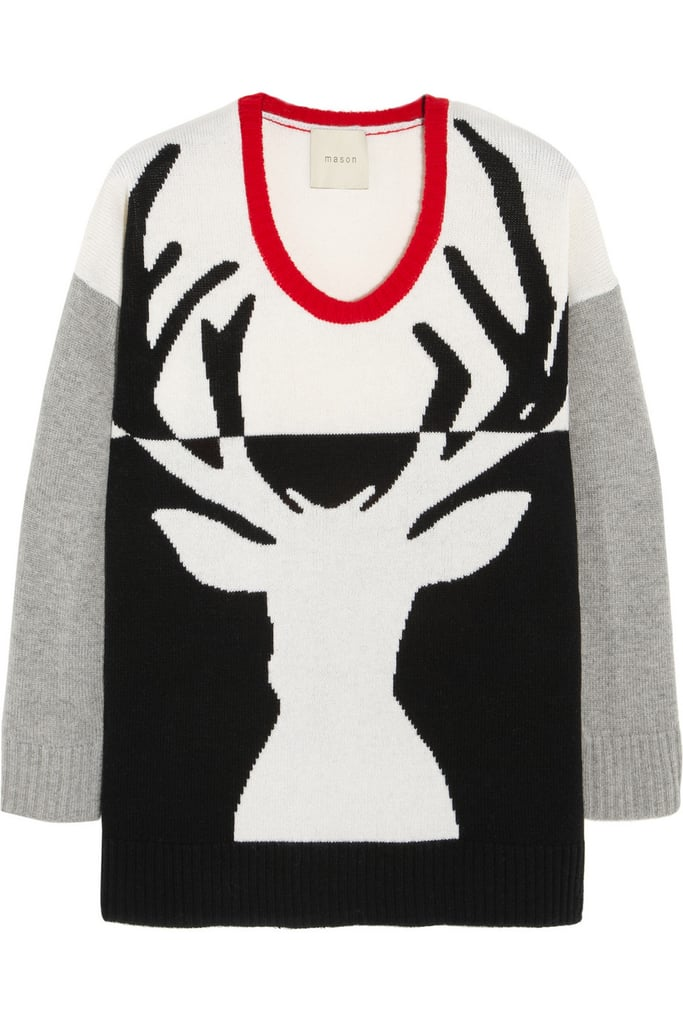 Mason by Michelle Mason's Reindeer Intarsia Sweater ($368) is a cozy cashmere knit that will look amazing with red denim or basic black skinnies.