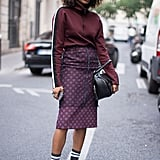 With a Turtleneck, Matching Midi Skirt, and High Socks