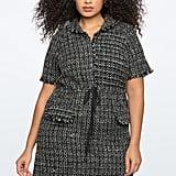 Eloquii Trimmed Tweed Drawstring Waist Dress