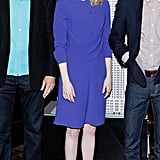 Emma showed off her purple side in a Peter Pan-collared Carven sheath and nude Christian Louboutin Pigalle pumps during a promo appearance at the Empire State building in NYC.
