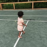And Blue even tried her hand at tennis.