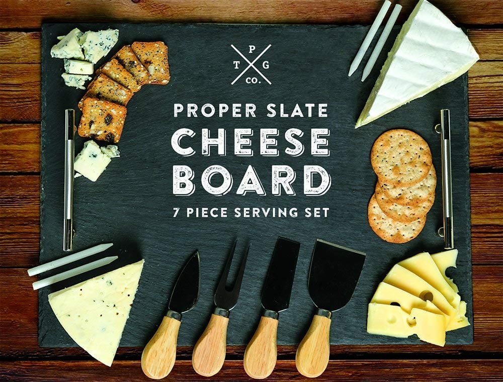 Slate Cheese Board 7-Piece Serving Tray Set