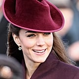 Kate matched her hat to her coat for the Christmas Day service in 2011.