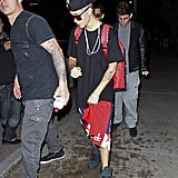 Justin Bieber wore shorts while out in LA.