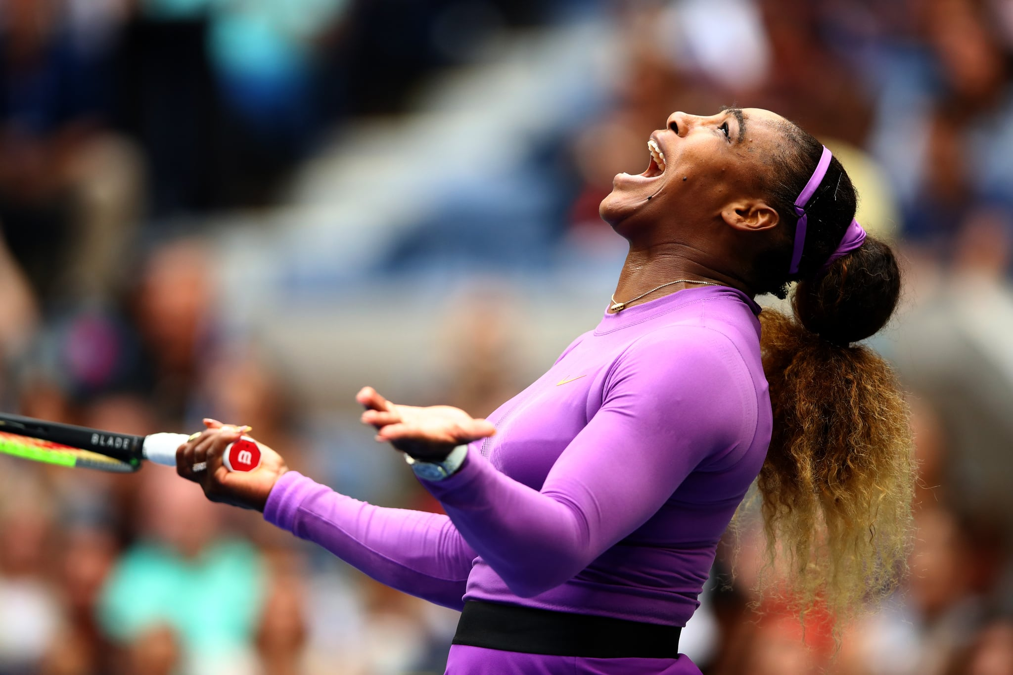 NEW YORK, NEW YORK - SEPTEMBER 07: Serena Williams of the United States reacts during her Women's Singles final match against Bianca Andreescu of Canada on day thirteen of the 2019 US Open at the USTA Billie Jean King National Tennis Centre on September 07, 2019 in Queens borough of New York City.   (Photo by Clive Brunskill/Getty Images)