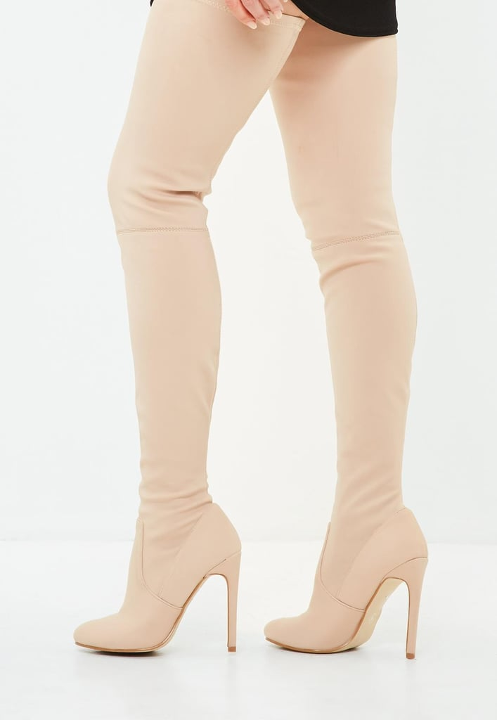 28a1fa20b3fe Alternative: Missguided Nude Round Toe Over the Knee Heeled Boots ...