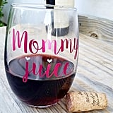 Metallic Pink Vinyl Mommy Juice Wine Glass