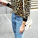 Easy Outfits: A Leopard-Print Sweater, Jeans, Mules, and a Bag