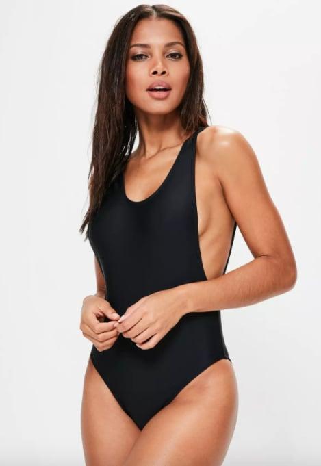 Missguided Black High Leg Swimsuit
