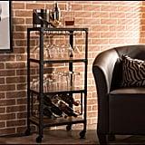 Baxton Studio Swanson Medium Brown Wine Cart