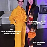 For another evening look, Megan chose a canary yellow ruffle top paired with matching trousers from Christopher John Rogers and Nike x Travis Scott sneakers. In an equally fun outfit, Sue wore a long Off-White blazer, pants, and purse, with A-Cold-Wall Nike sneakers.