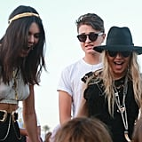 Kendall and Fergie chatted with friends.