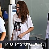 Kristen Stewart listened to her headphones.