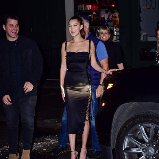 Bella Hadid Black Lace-Up Dress