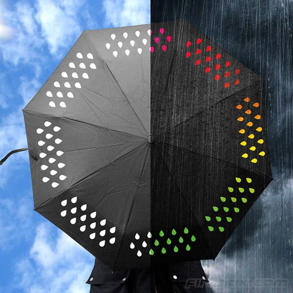 This Color Changing Umbrella ($23) contains white raindrops with hydrochromatic ink. So what's the English translation? The raindrops turn colors when wet.