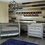 The el Moussas spelled out Brayden's name using RH Baby & Child Vintage Industrial Letters ($19 each). The letters rest atop a wood feature wall featuring pieces from Warren Christopher Fine Floor Coverings.