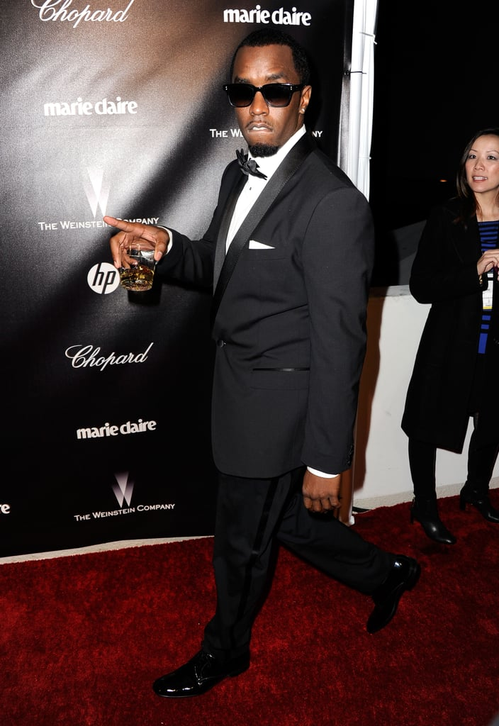 Diddy arrived at the Weinstein Company's Golden Globes party.