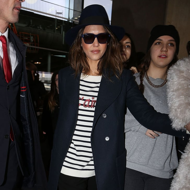 Jessica Alba Striped Shirt