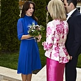 Princess Mary Belted Her Blue Dress to Make It More Figure Flattering
