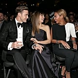 Justin Timberlake and Jessica Biel laughed with Beyoncé in the audience.