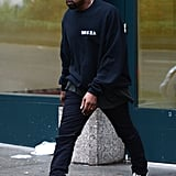 The star was also spotted wearing his Yeezy Boost 350s the next day while out and about in NYC.