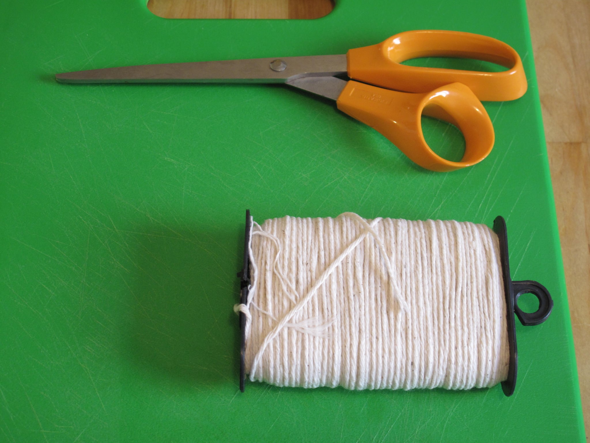 You'll need some equipment to start off with, such as kitchen twine and scissors.