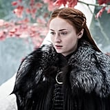 "Turner on Young Sansa: ""She sees the world through rose-tinted glasses at the very beginning. She is completely oblivious to who the royal family are. It's like any Justin Bieber fan — they don't realise Justin has his darkness about him. David and Dan always told me, 'Look at Joffrey as if he's Justin Bieber and imagine that life.'"" On Sansa's evolution through the series: ""In the beginning, I was jealous of Maisie because she got to do all these sword fights and be the badass. I was like, 'I know my character is very powerful.' Sansa adapts better than Arya. If Arya was in Sansa's situation at the beginning, she would have had her head cut off. And if Sansa had been in Arya's position, Sansa would have been bullied to death. . . . It was really frustrating how slow it was, but it just makes it all the more satisfying. I'm happy she's only just coming into her power now."""