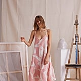 Desmond & Dempsey Nightie The Modernist Print Pink Linen