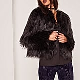 Missguided Shaggy Faux Fur Coat Black ($68)