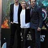 The Avengers costars Scarlett Johansson, Mark Ruffalo, and Chris Hemsworth posed for photos.