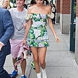 Kendall Jenner Off-the-Shoulder Floral Dress