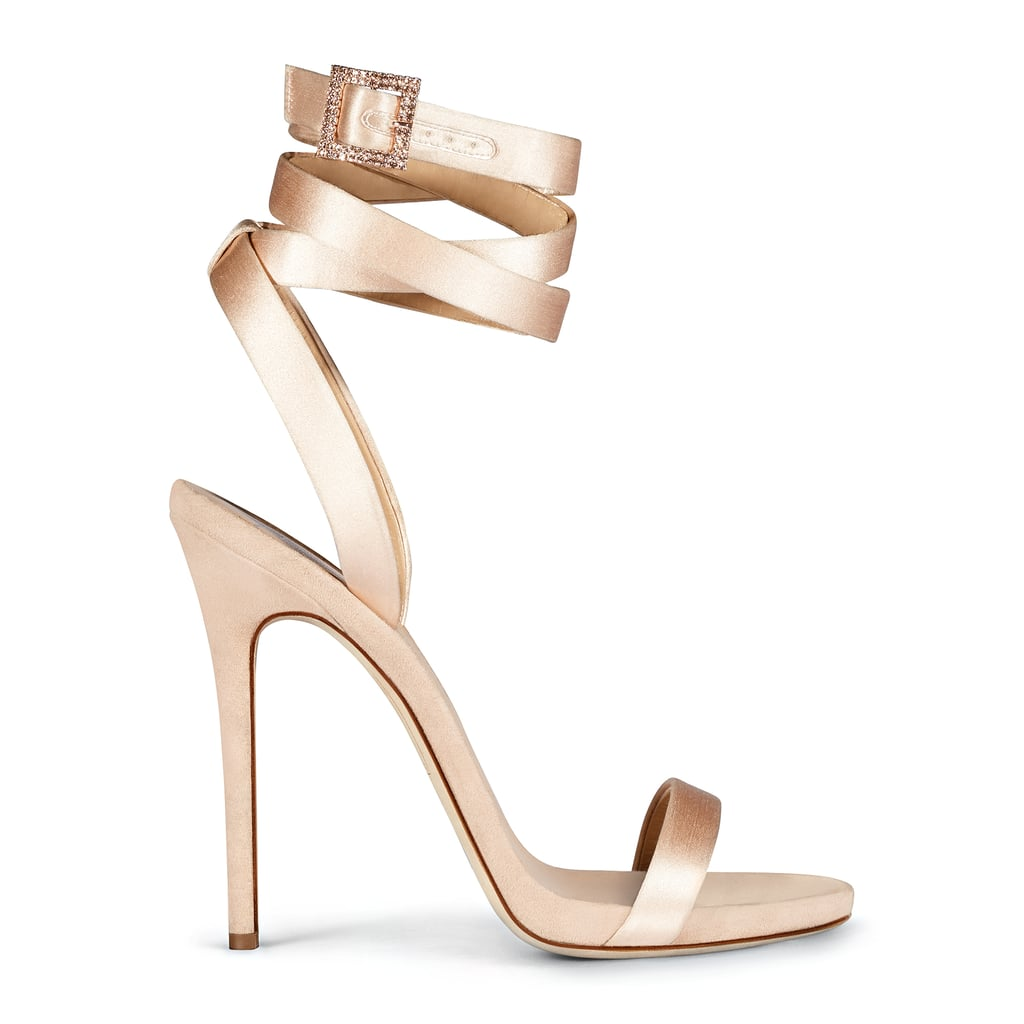 The Leslie sandal ($895) is minimalist at the bottom and strappy at the top — and named after Jennifer's sister. This classic shoe comes in gray and beige suede, turquoise leather with python-printed straps, and blush satin with a rhinestone-encrusted buckle.