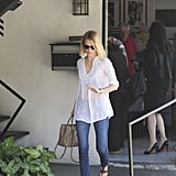 January Jones left her local poll after casting her vote in LA.