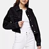 Topshop Washed Black Cropped Denim Jacket