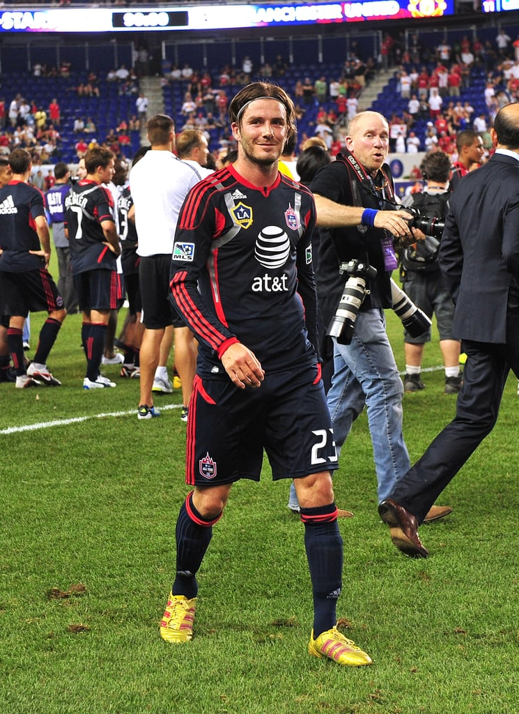 "David Beckham joined the MLS All-Stars last night to take on his old team, Manchester United, at New Jersey's Red Bull Arena just outside NYC. There were plenty of stars in attendance to watch as David's squad faced off against the visiting Brits, including Ethan Hawke, Jessica Szohr, and Gerard Butler. Despite the support for the MLS players, Manchester beat the All-Stars with a final score of 4-0. David, nonetheless, gave the match his all, trying to get no less than three goals in but having each effort blocked. He was the only player allowed to decide how much time he'd spend on the field, even wearing the captain's armband for the game! David said of playing against Manchester, ""The problem is with me, it doesn't matter how old I am, once I am on the field, I don't want to come off, and I'll always be like that."""