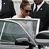 Jennifer Lopez left the event in a black car.