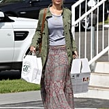 Jennifer Lawrence carried a heavy load as she ran errands in LA.